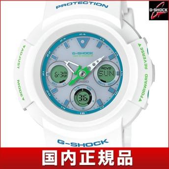 CASIO カシオ G-SHOCK ジーショック タフソーラー AWG-M510SWG-7AJF 国内正規品 国内モデル アナログ デジタル メンズ 腕時計 白 ホワイト 青 ウレタン