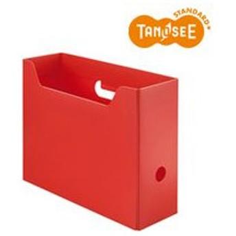 TANOSEE PP製ボックスファイル(組み立て式) A4 ヨコ レッド 1個