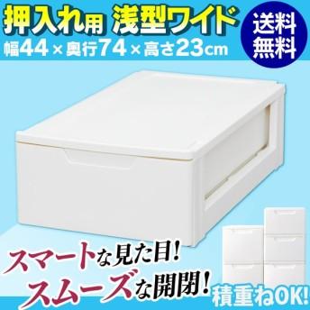 (単品) チェスト ホワイト 浅型ワイド 高さ23cm×奥行74cm SG-LW 押入れ収納 収納ケース 収納ボックス 時間指定不可
