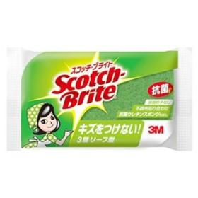 スリーエムジャパン 3M スコッチ・ブライト 抗菌ウレタンスポンジたわし リーフ型 3層 グリーン (1個)