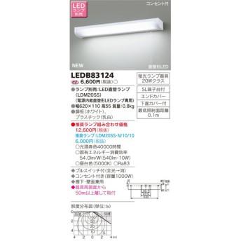 東芝ライテック 照明器具 LEDキッチンライト 流し元灯 コンセント付 棚下・壁面兼用タイプ 蛍光灯20W相当 プルスイッチ付 LEDB83124