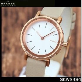 SKAGEN スカーゲン HALD ハルド SKW2494 海外モデル アナログ レディース 腕時計 ウォッチ 白 ホワイト 金 ピンクゴールド グレーベージュ 革バンド レザー