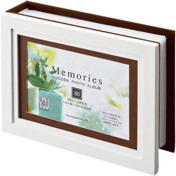 ユーパワー メモリーズ木製アルバムフォトフレーム 1ウィンドー EF-01803 ホワイト