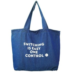 One Control Switching is Easy プリント ダークブルーデニム トートバッグ