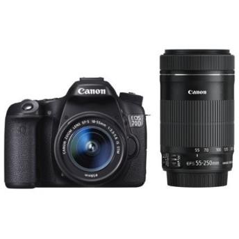 キヤノン CANON デジタル一眼レフカメラ EOS 70D ダブルズームキット EF-S18-55 IS STM/EF-S55-250 IS STM付属 EOS70D-WKIT 新品 送料無料
