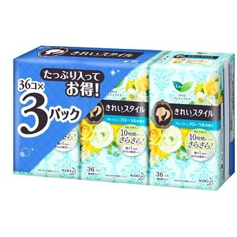 花王 ロリエ きれいスタイル フレッシュフローラルの香り (36コ入×3パック) パンティライナー