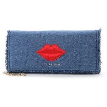 スパイラルガール SPIRAL GIRL リップポイント刺繍ロングウォレット (ブルー)