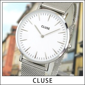 CLUSE クルース CL18105 38mm 海外モデル La Boheme MESH ラ・ボエーム メッシュ レディース 腕時計 白 ホワイト 銀 シルバー メタル バンド