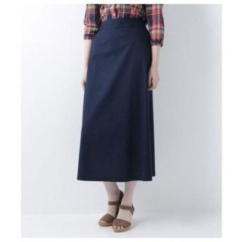 ニューヨーカーブルー NEWYORKER BLUE 【ストレッチ】綿麻ツイル マキシスカート (ネイビー)