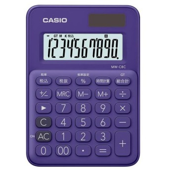 カシオ カラフル電卓 パープル MW-C8C-PL-N [MWC8CPLN]