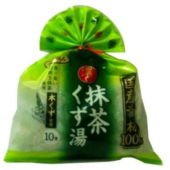 【季節限定】【y】 国産素材100% 濃い抹茶くず湯(10食入) 1袋 本くず使用 本くず湯 【葛湯】【季節商品】