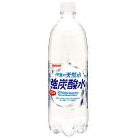 サンガリア 伊賀の天然水 強炭酸水 ペット1L 1000ml (12本入)炭酸水 ソーダ ハイボール