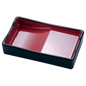 福井クラフト 箸置き付長角醤油皿 黒内朱 RSY8801