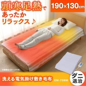 電気毛布 190×130cm 掛け敷き毛布 洗濯機で洗える 洗える電気毛布 グリーン系 EM-706M TEKNOS (B)
