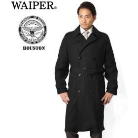 WAIPER別注 HOUSTON ヒューストン U.S.NAVY ブラックトレンチコート WP12 メンズ ミリタリー ビジネスコート ブランド【Sx】
