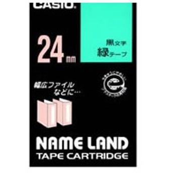 カシオ/ネームランド スタンダード 24mm 緑/黒文字/XR-24GN