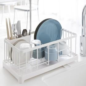 山崎実業 水切りラック 水切りワイヤーバスケット タワー ホワイト ( 皿立て 水切りかご )