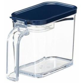 アスベル 調味料入れ スプーン付き フォルマ クリアポット 480ml 計量機能付き MSポット ネイビー キッチン用品 台所用品
