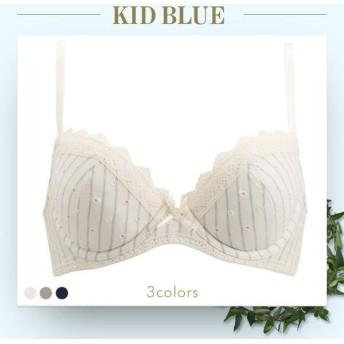 ブラジャー キッドブルー KID BLUE ストライプドットエンブ 3/4カップブラジャー