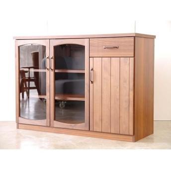 【MONT/モント】 キャビネット 幅120cm キッチンキャビネット ヴィンテージ インダストリアル 木製 ブラウン 完成品