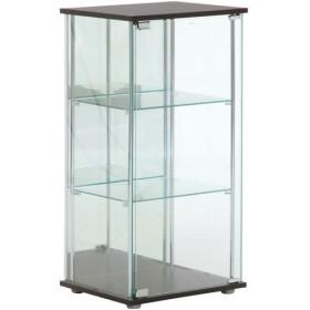 【メーカー直送】不二貿易 ガラスコレクションケース 3段 背面ミラー付き ブラウン TMG-G02 96048
