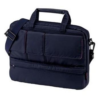 アウトレット ブリーフケース 超軽量PCケース 12.1インチ ワイド ネイビー ビジネスバッグ メンズ カバン 収納 鞄 取っ手 ショルダー アウトレット 訳あり