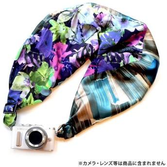 《新品アクセサリー》 Sakura Sling(サクラカメラスリング) サクラカメラスリング(ブラッシュストライプ&フラワー/サックス) SCS-L45 sizeL