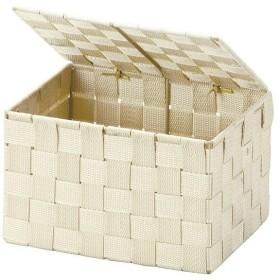 収納ボックス フタ付き PP編み ベージュ ( 収納かご 小物収納 )