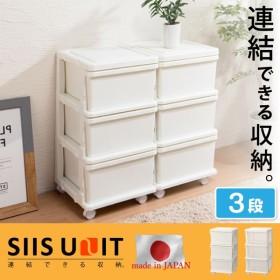 日本製 収納ボックス 引き出し 収納ケース プラスチック 引き出し 【SIIS UNIT】シーズユニット3段  代引不可
