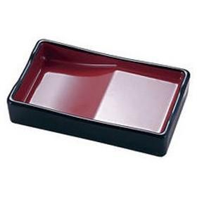 箸置き付長角醤油皿 黒内朱