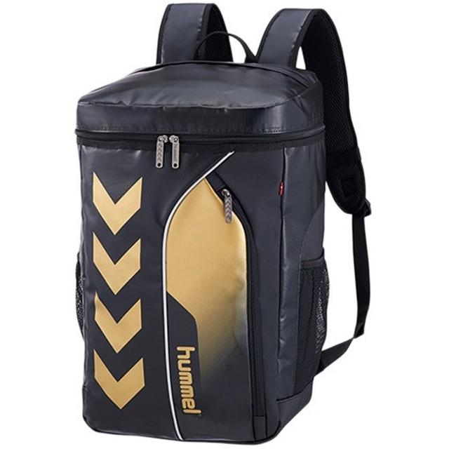 ヒュンメル(hummel) ターポリンバックパック ブラック×ゴールド HFB6069 スポーツ トレーニング 鞄 部活