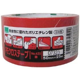 オカモト NO420 PEクロステープ包装用 赤 50ミリ 420R テープ用品・梱包用テープ