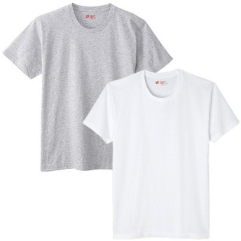 ヘインズ(Hanes) JAPAN FIT CREW NECK T 2P メンズ ジャパンフィット 2枚組 クルーネック Tシャツ ホワイト/グレー H5120 半袖 カットソー インナー