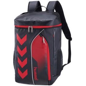 ヒュンメル(hummel) ターポリンバックパック ブラック×レッド HFB6069 スポーツ トレーニング 鞄 部活