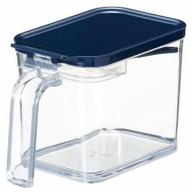 アスベル 調味料入れ スプーン付き フォルマ クリアポット 700ml 計量機能付き MRポット ネイビー キッチン用品 台所用品