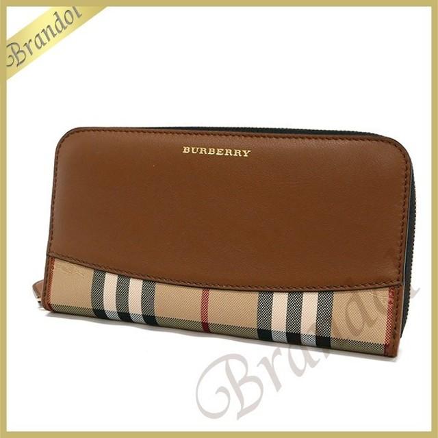 80564d325419 バーバリー BURBERRY 財布 レディース ラウンドファスナー長財布 レザー ホースフェリーチェック ブラウン×ベージュ 4024978