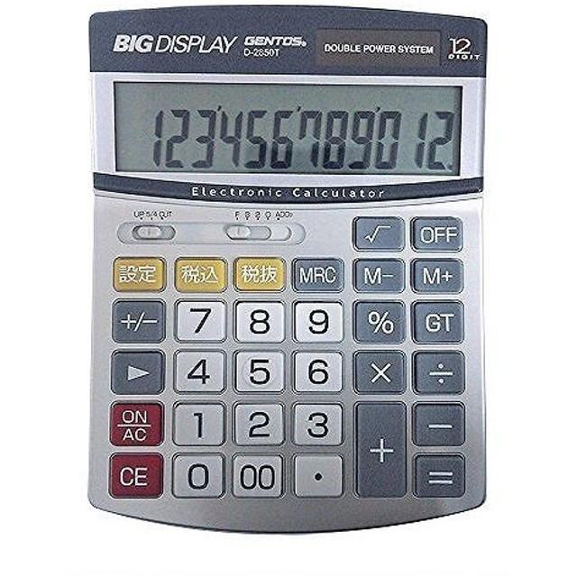 アデッソ GENTOS ビッグディスプレイ 電卓 セミデスク 12桁 D-2850T シルバー