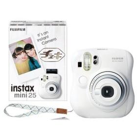 インスタントカメラ instax mini 25 (チェキ) ホワイト 純正ハンドストラップ付