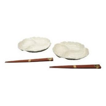 萬古焼 ミニ3品ペアオードブル皿(箸付) SDーMO2P