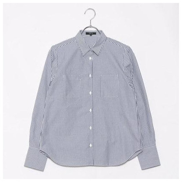 コムサイズム COMME CA ISM ストライプ柄 ベーシックシャツ (ネイビー)