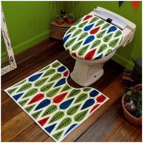 HOKUORU トイレ2点セット 洗浄・暖房用 カラフルリーフ 代引不可
