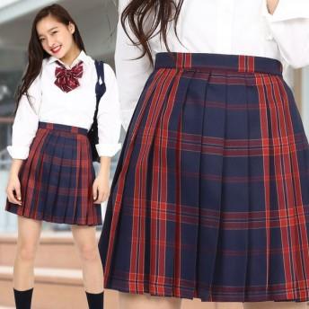 TEENS EVER 16SS 無地 プリーツスカート(ネイビー×ルビー Mサイズ) スクールスカート 制服 無地 女子 レディース 高校生 中学生 学校 4560320864608