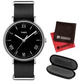 (1本用時計ケース・クロス2枚セット)(正規輸入品)TIMEX サウスビュー SOUTHVIEW TW2R28600 Black/Black(メール便不可)