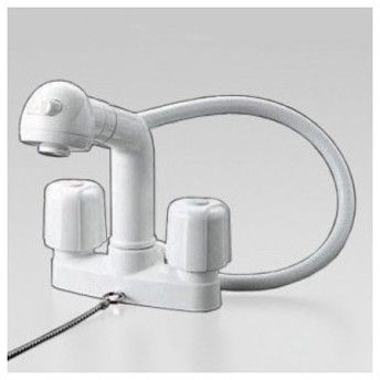 KVK ケーブイケー 2ハンドル洗髪シャワー 固定こま仕様 寒冷地用 逆止弁なし ゴム栓付 KF64Z