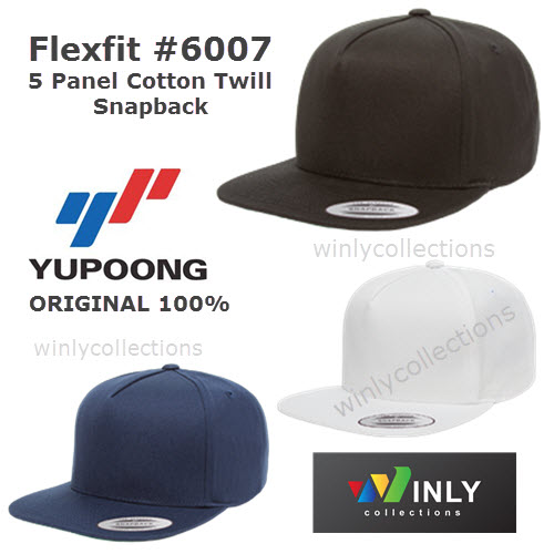 Topi Flexfit 5 Panel Cotton Twill Snapback 6007 Yupoong ORIGINAL 8d3318cfe9