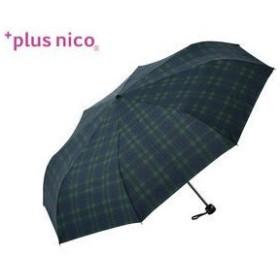 plus nico/プラスニコ  折りたたみ傘 手開き 65タータンチェックミニ 【65cm】 (グリーン)