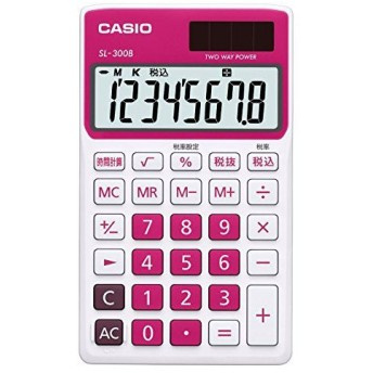 CASIO カシオ計算機 カラフル電卓 手帳タイプ 8桁 ルージュピンク SL-300B-RD-N