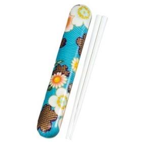 たつみや 加賀桜 布貼 箸箱セット ブルー