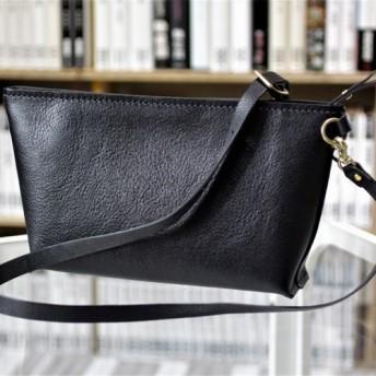 総手縫い イタリア製ヌメ革ファスナーショルダー(S) カラーオーダー対象品 受注制作