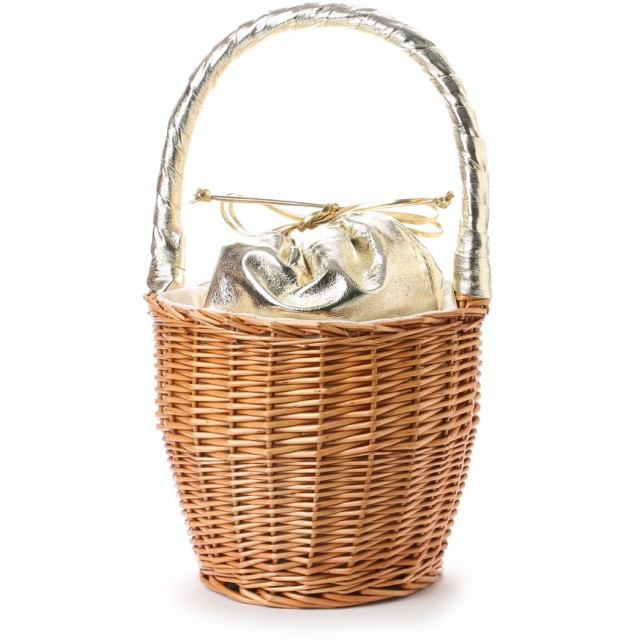 【EVOL】ILIMA Casselini メタリック巾着かごバッグ (ゴールド)